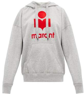 Etoile Isabel Marant Mansel Logo Printed Jersey Hooded Sweatshirt - Womens - Grey
