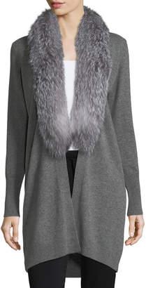 Neiman Marcus Luxury Oversized Cashmere Cardigan w/ Fox Fur Collar