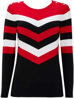 Wallis Red Striped Colour Block Jumper