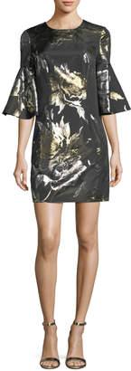 Trina Turk Bell-Sleeve Metallic Rose Jacquard Cocktail Dress