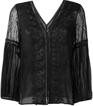 Alice + Olivia Alice+Olivia embroidered floral lace blouse