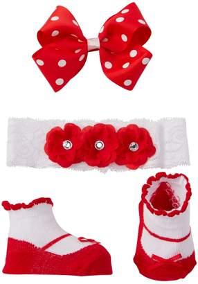 Little Me Fancy Headwrap, Booties, & Clip (Baby Girls)
