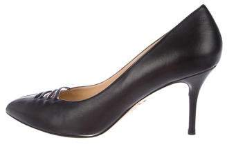 Charlotte Olympia Leather PVC-Trimmed Pumps