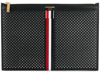 Thom Browne Small Zipper Tablet Holder (29.5X20Cm) With Red, White And Blue Vertical Stripe In Perforated Pebble Grain & Calf Leather