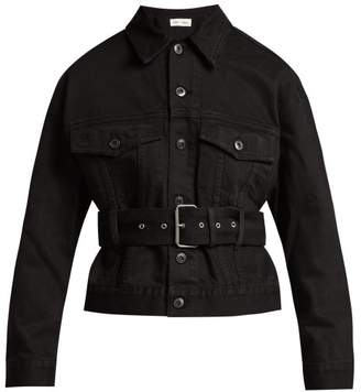 Proenza Schouler Pswl - Belted Cotton Denim Jacket - Womens - Black