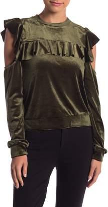 Romeo & Juliet Couture Crew Neck Cold Shoulder Ruffle Velvet Top