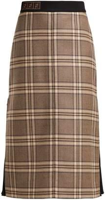Fendi High-rise checked wool midi skirt