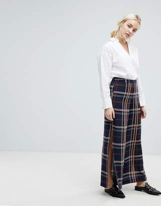J.o.a. Wide Leg Pants With Side Split In Large Check