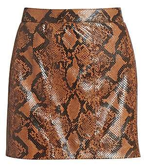 Givenchy Women's Snakeskin-Print Leather Mini Skirt