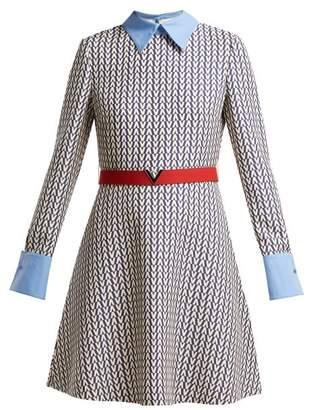 Valentino Optical Print Wool And Silk Blend Mini Dress - Womens - Blue Multi
