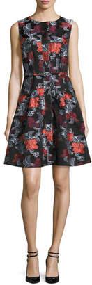 Oscar de la Renta Sleeveless Floral Jacquard A-Line Dress, Navy