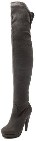 Sueded Thigh-High Heel Boot