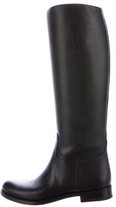pradaPrada Saffiano Leather Knee-High Boots