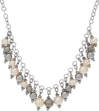 Honora Cultured Pearl & Bead Necklace Sterling or Clad