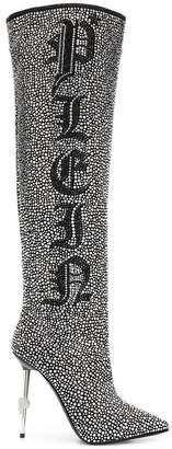 Philipp Plein crystal studded logo boots