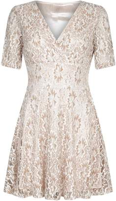 Yumi London Textured Silk Lined Skater Dress