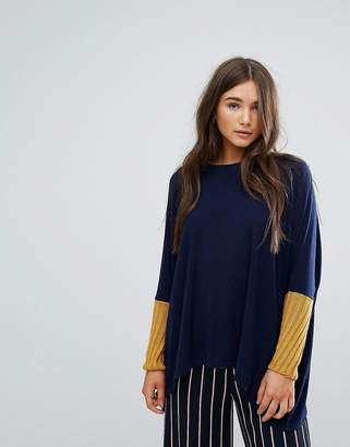 Traffic People Slouchy Jumper With Contrast Sleeves