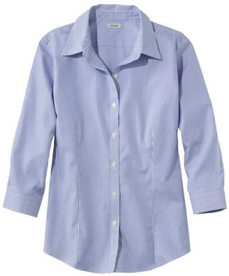 L.L. Bean L.L.Bean Women's Wrinkle-Free Pinpoint Oxford Shirt, Three-Quarter Sleeve Slightly Fitted Stripe