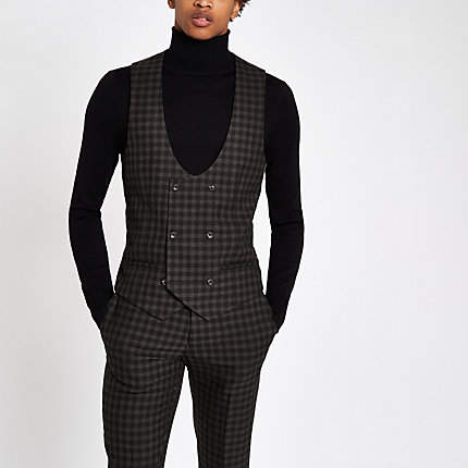 River Island Brown check double-breasted suit waistcoat