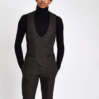 River Island Brown check double-breasted suit vest