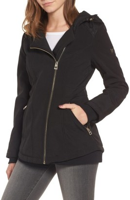 Women's Guess Asymmetrical Soft Shell Coat $198 thestylecure.com