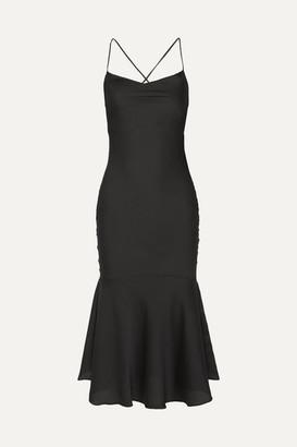 The Line By K - Robi Tie-detailed Hammered-satin Dress - Black