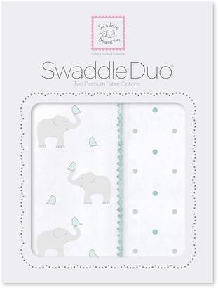 Swaddle Designs SwaddleDuo, Elephant & Chickies Duo (Set of 2 Swaddling Blankets in )