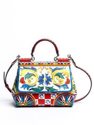 Dolce & Gabbana Sicily Tile-Print Leather Top Handle Satchel $2,295 thestylecure.com