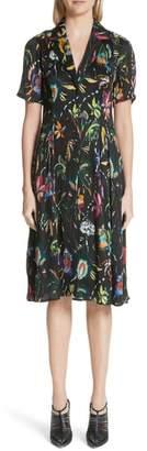 Jason Wu Floral Print Plisse Silk Crepon Dress