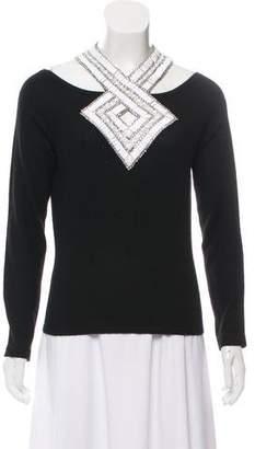 Naeem Khan Embellished Long Sleeve Blouse