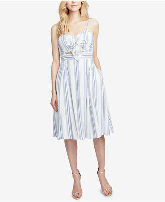 Rachel Roy Striped Twist-Front Cutout Dress