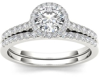 Imperial Diamond Imperial 1 Carat T.W. Diamond Single Halo 14kt White Gold Engagement Ring Set