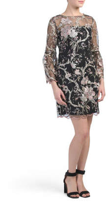Three-quarter Sleeve Embroidered Lace Dress