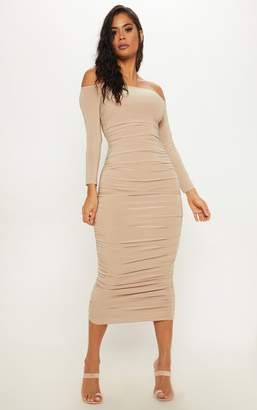 PrettyLittleThing Stone Bardot Slinky Ruched Midaxi Dress