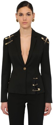 Versace SINGLE BREAST GABARDINE JACKET W/PINS