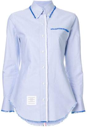 Thom Browne Classic Long Sleeve Button Down Point Collar Shirt W/ Fray In Solid Oxford W/ Engineered Center RWB Stripe