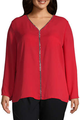 Liz Claiborne V Neck Jewel Top - Plus