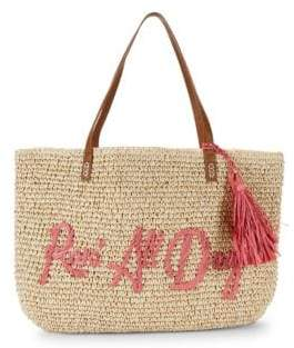 Embroidered Rose All Day Paper Straw Graphic Tote