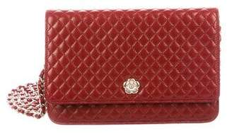 Chanel Quilted Camellia Wallet On Chain
