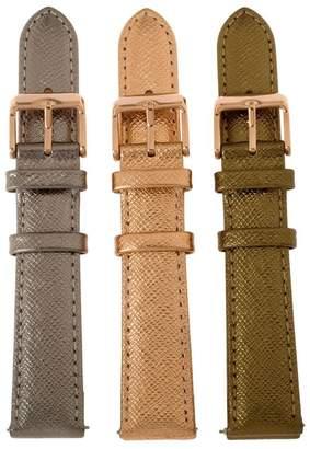Bronzo Italia Bronze Set of 3 Leather Watch Straps by BronzoItalia