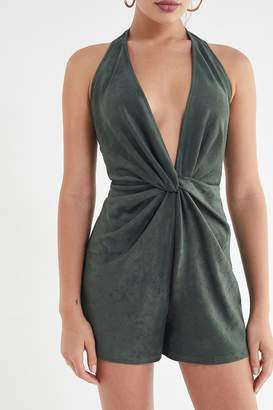 Urban Outfitters Faux Suede Twist-Front Halter Romper