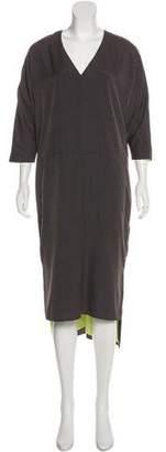 J Brand V-Neck High-Low Midi Dress