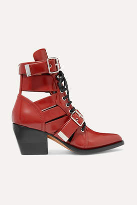 Chloé Rylee Cutout Leather Ankle Boots - Red
