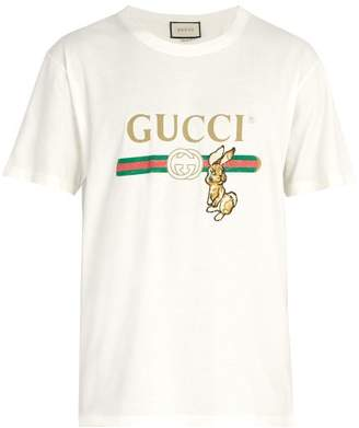 Gucci - Vintage Logo T Shirt With Bunny Appliqué - Mens - Cream