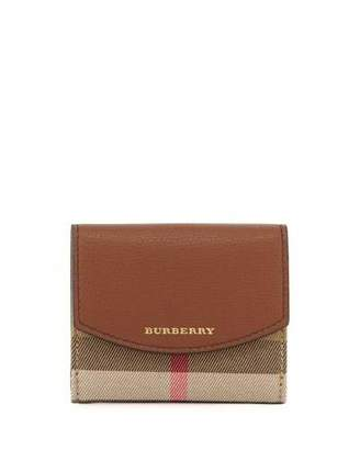 Burberry Luna Small Leather & Check Folded Wallet, Tan