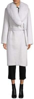 Sofia Cashmere Fox Fur-Trimmed Wool & Cashmere Wrap Coat