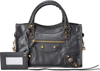 Balenciaga Classic Gold Mini City Leather Shoulder Bag