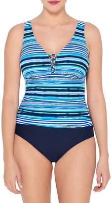 Christina Blue Colourblock One-Piece Swimsuit