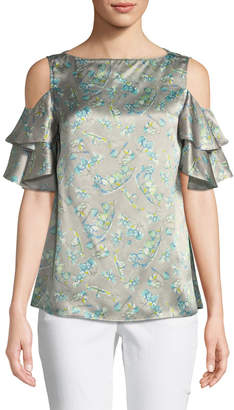 Lafayette 148 New York Layla Lily-Print Cold-Shoulder Silk Top