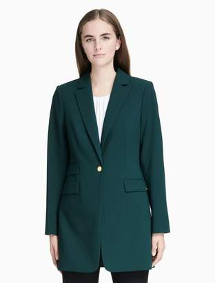 Calvin Klein lux one button long jacket